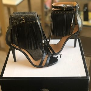 NWT Nine West Leather Fringe Heels